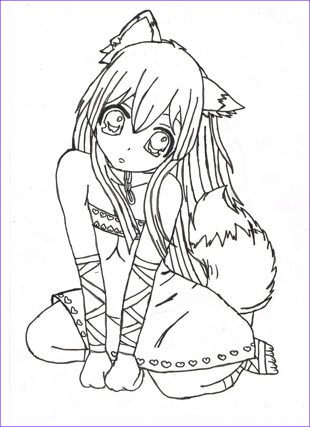 Anime Wolf Girl Coloring Page Cool Collection Pin On Mcoloring