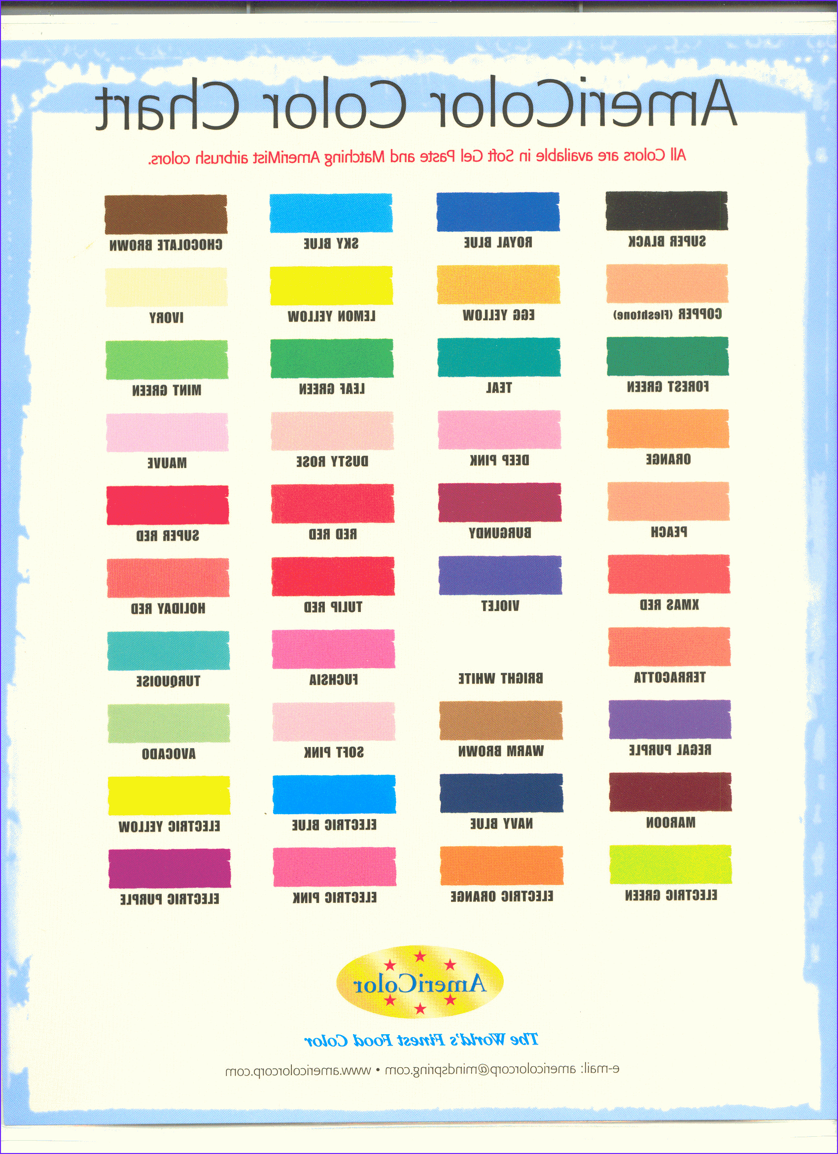 Basic Food Coloring Chart Beautiful Collection Americolor Colour Chart Blending Chart for Americolor Gels