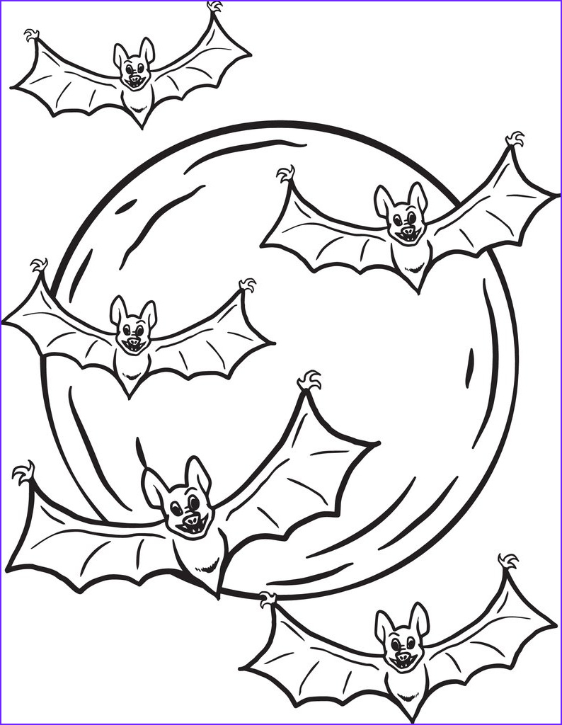 four bats and moon coloring page a4290