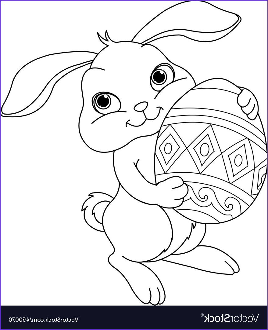easter bunny coloring page vector