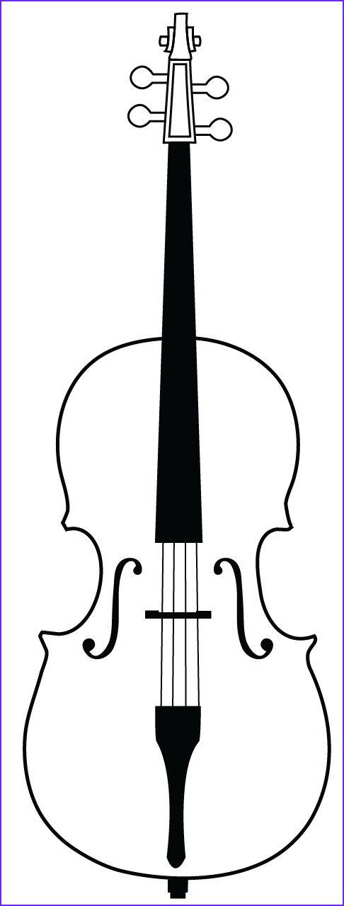 Cello Coloring Page Luxury Photos Cello Outline Drawing Sketch Coloring Page