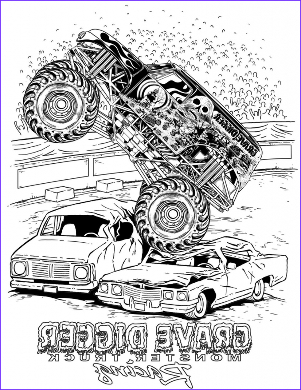 Coloring Page Monster Trucks Inspirational Collection Get This Grave Digger Monster Truck Coloring Pages