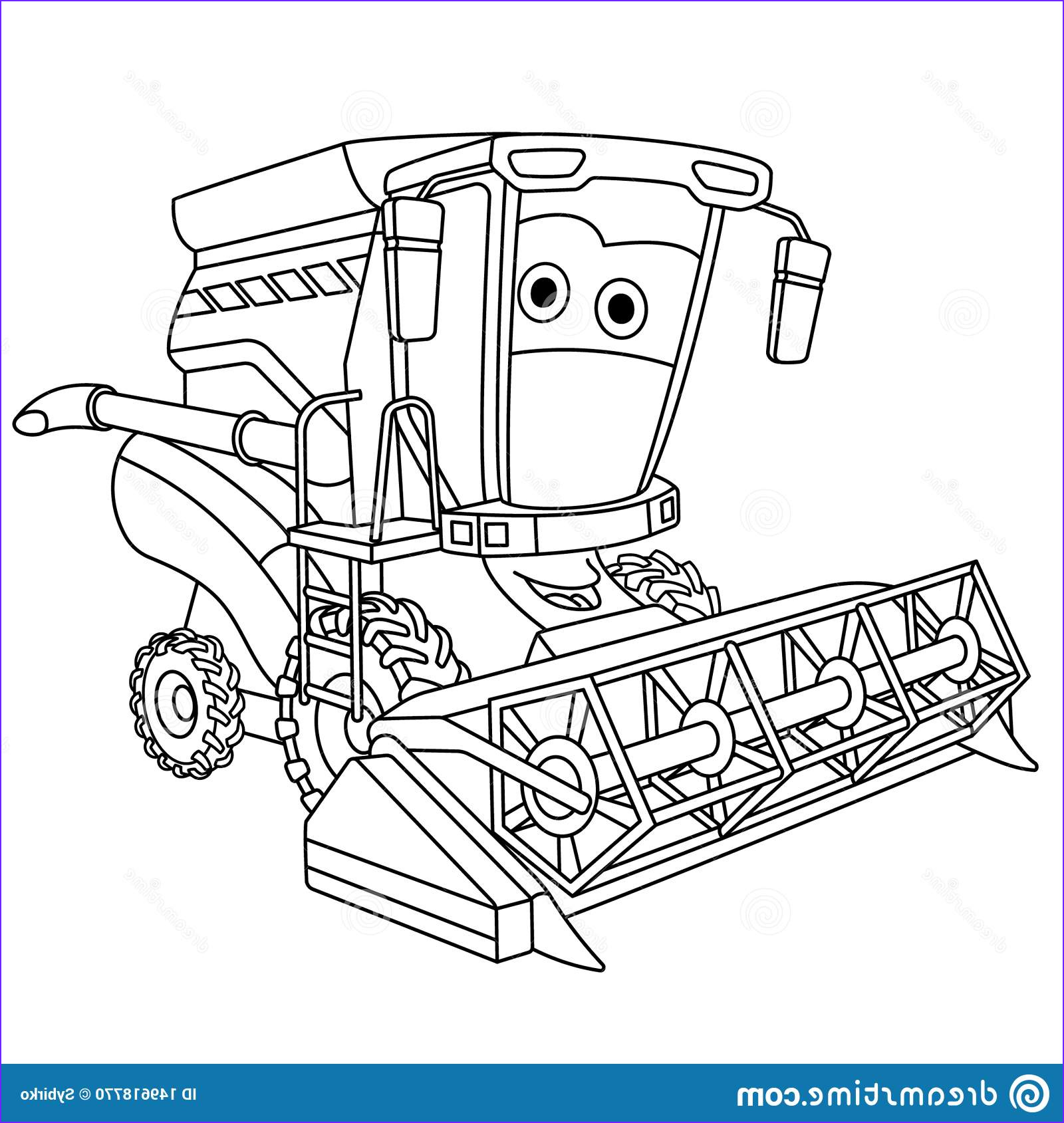 Combine Coloring Page Inspirational Image Coloring Page with Harvester Bine Stock Vector
