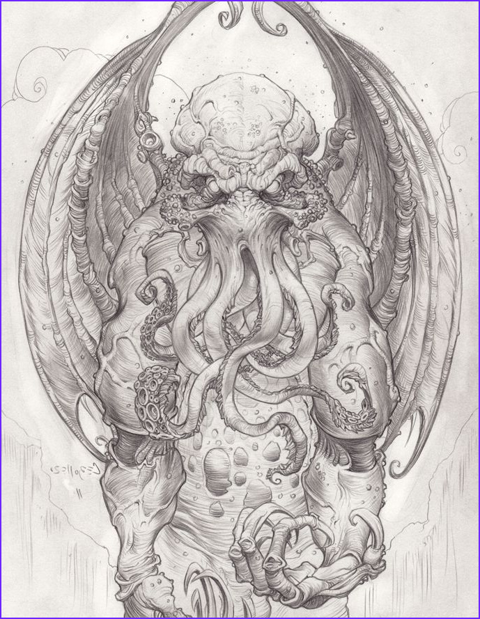 Cthulhu Coloring Page Awesome Stock Cthulhu Drawing