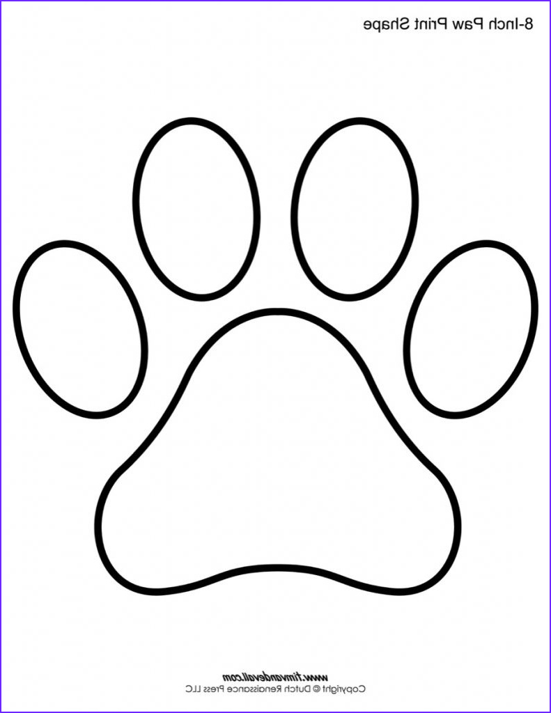 Dog Paw Coloring Page Best Of Images Paw Print Coloring Page Paw Print Template Shapes Blank
