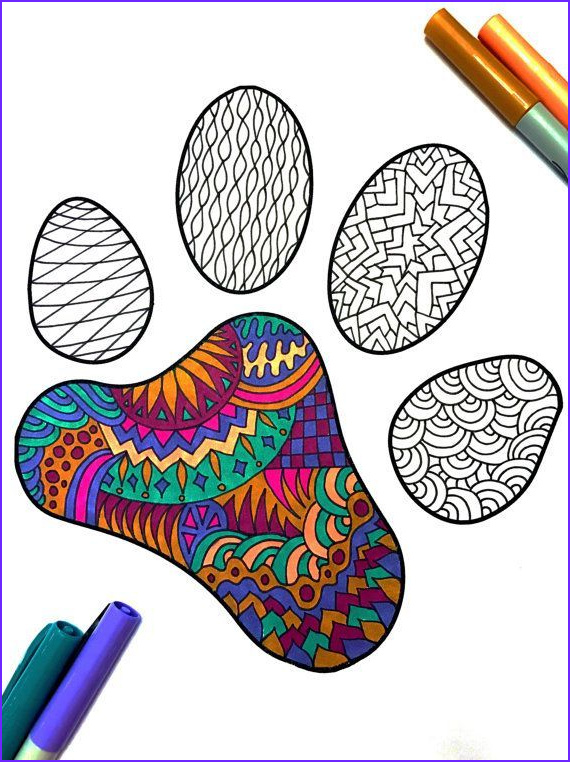 Dog Paw Coloring Page Luxury Gallery Paw Print Pdf Zentangle Coloring Page By Djpenscript On