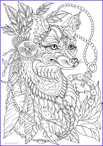 Fantasy Coloring Page for Adults Cool Collection Fantasy Fox Printable Adult Coloring Pages From Favoreads