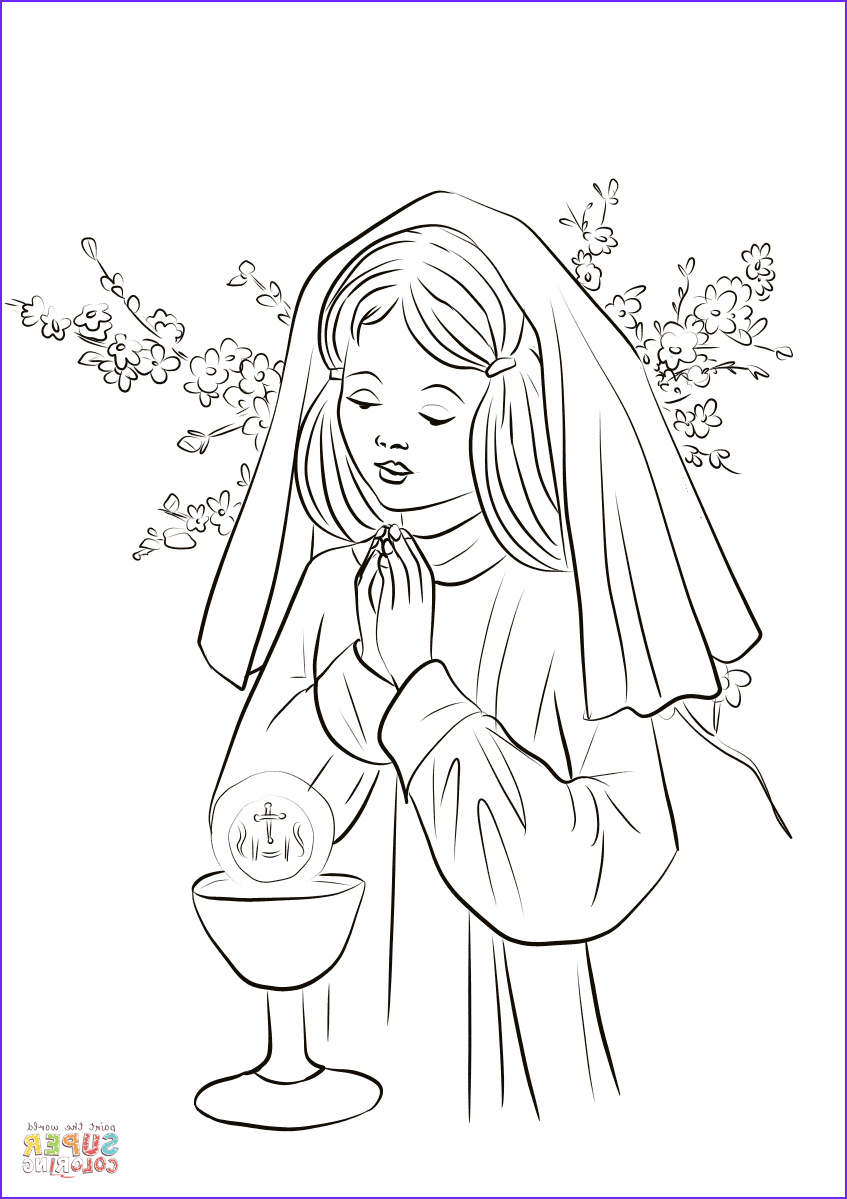 First Communion Coloring Page Awesome Photos First Munion Girl Coloring Page