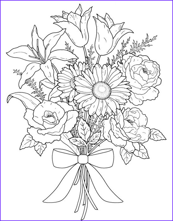 Flower Coloring Book Page Awesome Stock Flower Coloring Pages for Adults Best Coloring Pages for