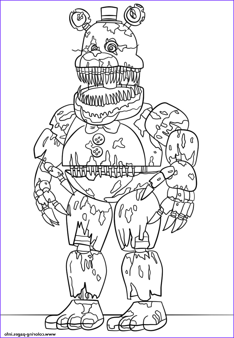 Fnaf Coloring Page Printable Awesome Photos Nightmare Fredbear Scary Fnaf Coloring Pages Printable