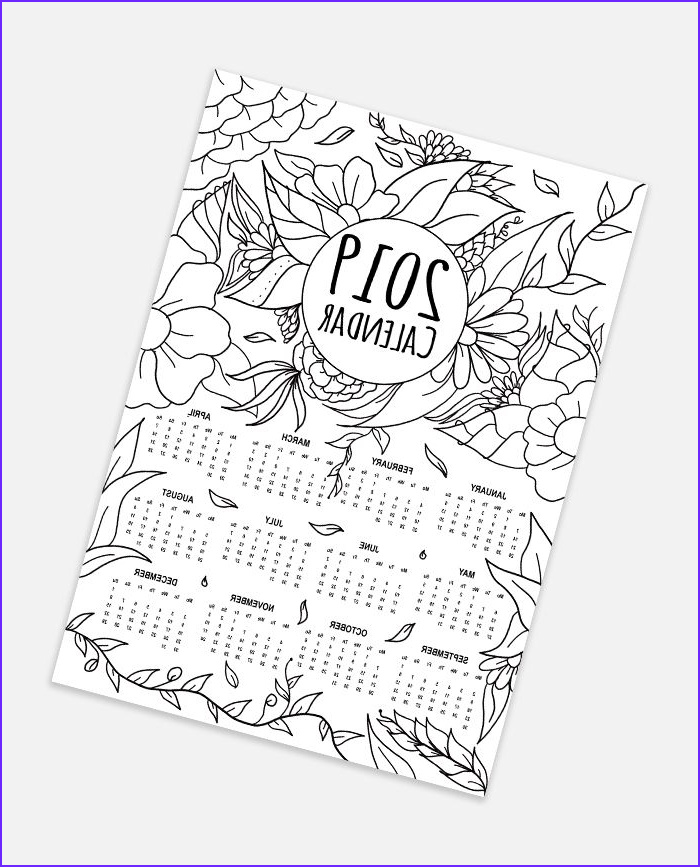 Free Printable Coloring Calendar Cool Photos Free 2019 Calendar Adult Coloring Page Instant Digital
