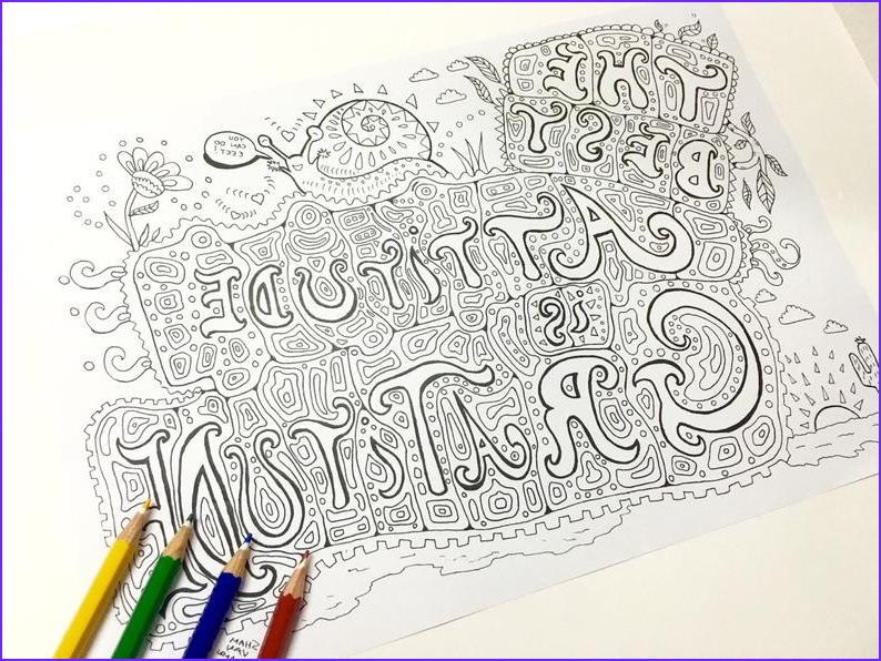 Gratitude Coloring Page Inspirational Collection Gratitude Coloring Page Adult Coloring Page Art therapy