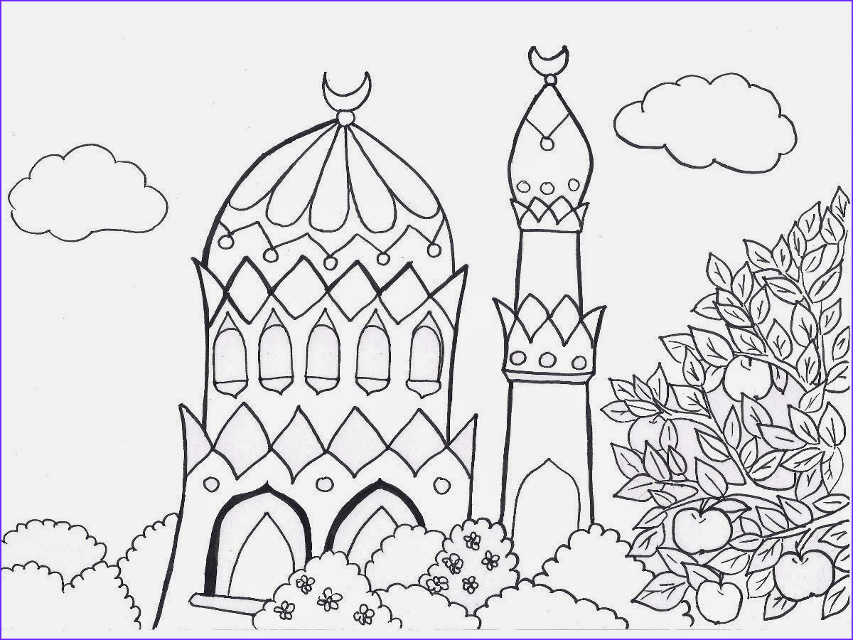 mosque nature hd coloring pages for kids