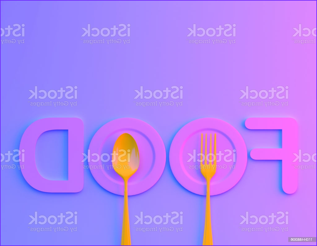 Holographic Food Coloring New Stock Food Word Sign Logo with Spoon and fork In Bvibrant Bold