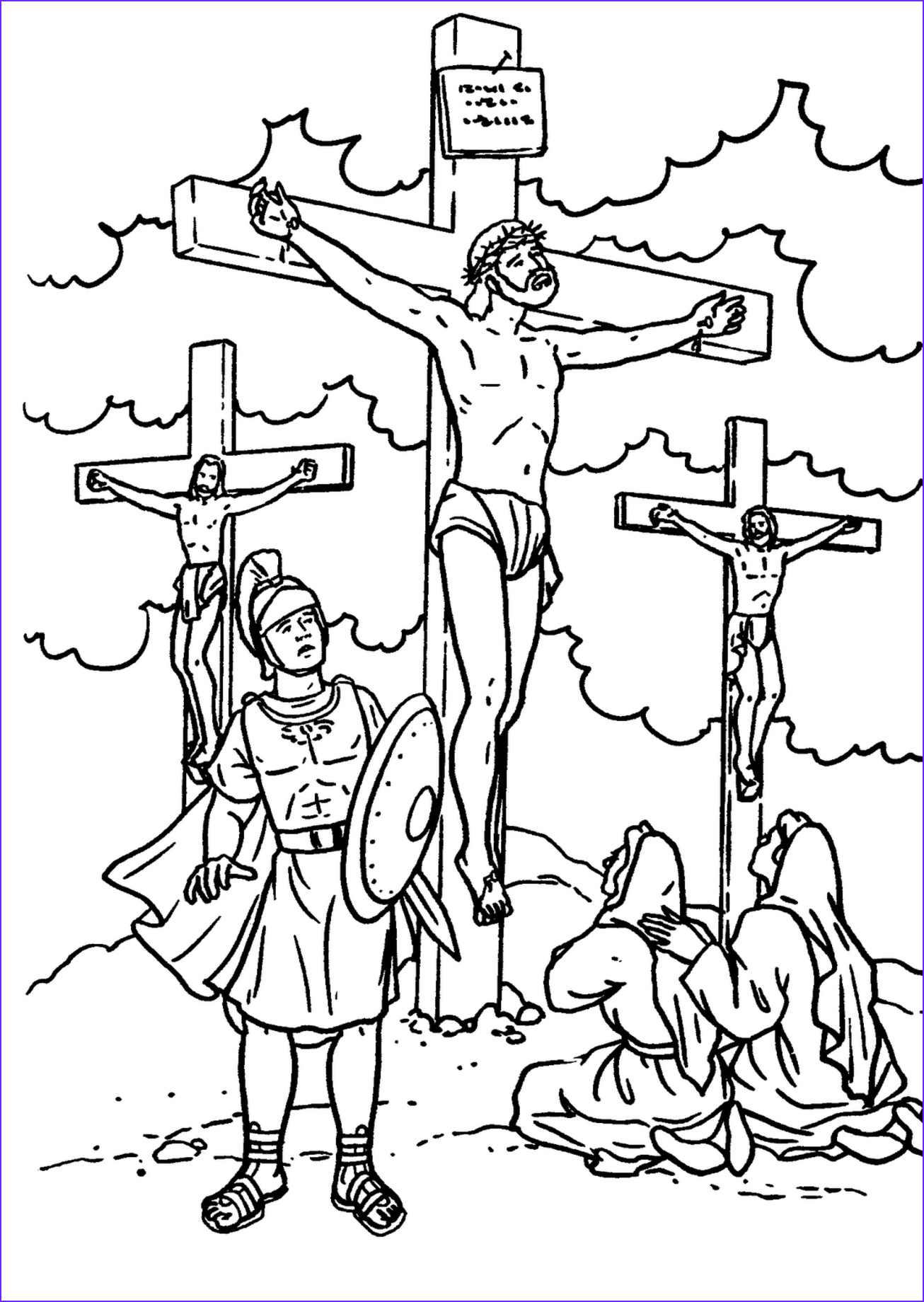 jesus d on the cross coloring page