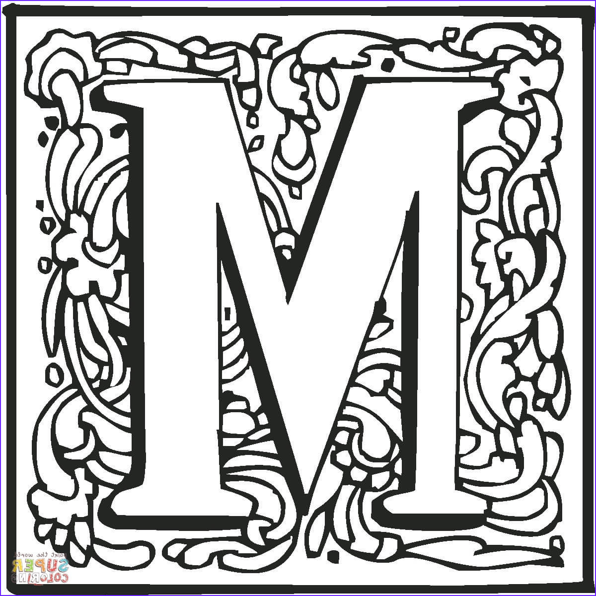 M Coloring Sheet Elegant Photos Letter M with ornament Coloring Page