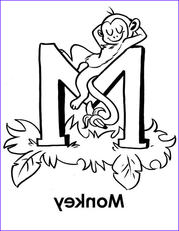M Coloring Sheet New Collection Monkey Sleeps Letter M Coloring Page Download & Print