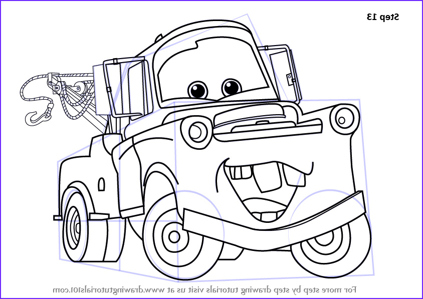 Mater Coloring Page Beautiful Photos Step by Step How to Draw tow Mater From Cars