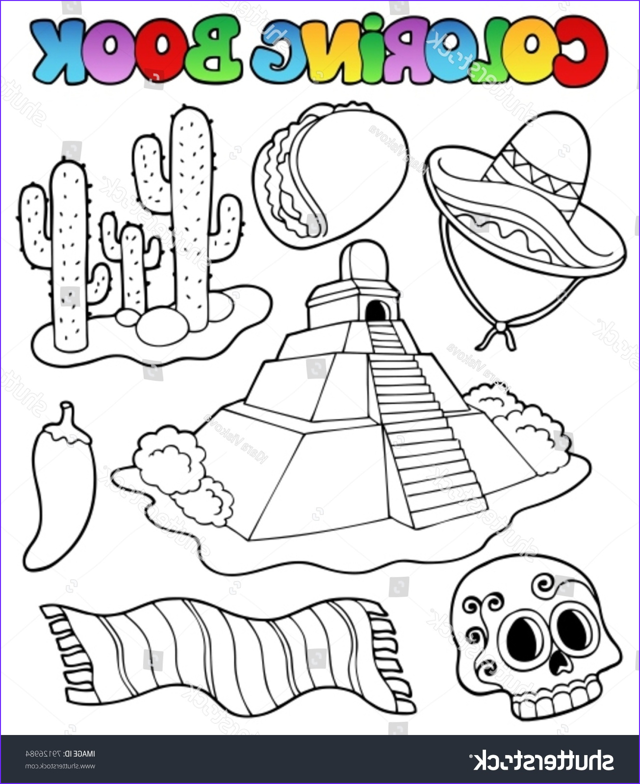 Mexican Coloring Book Best Of Collection Coloring Book with Mexican theme 1 Vector Illustration