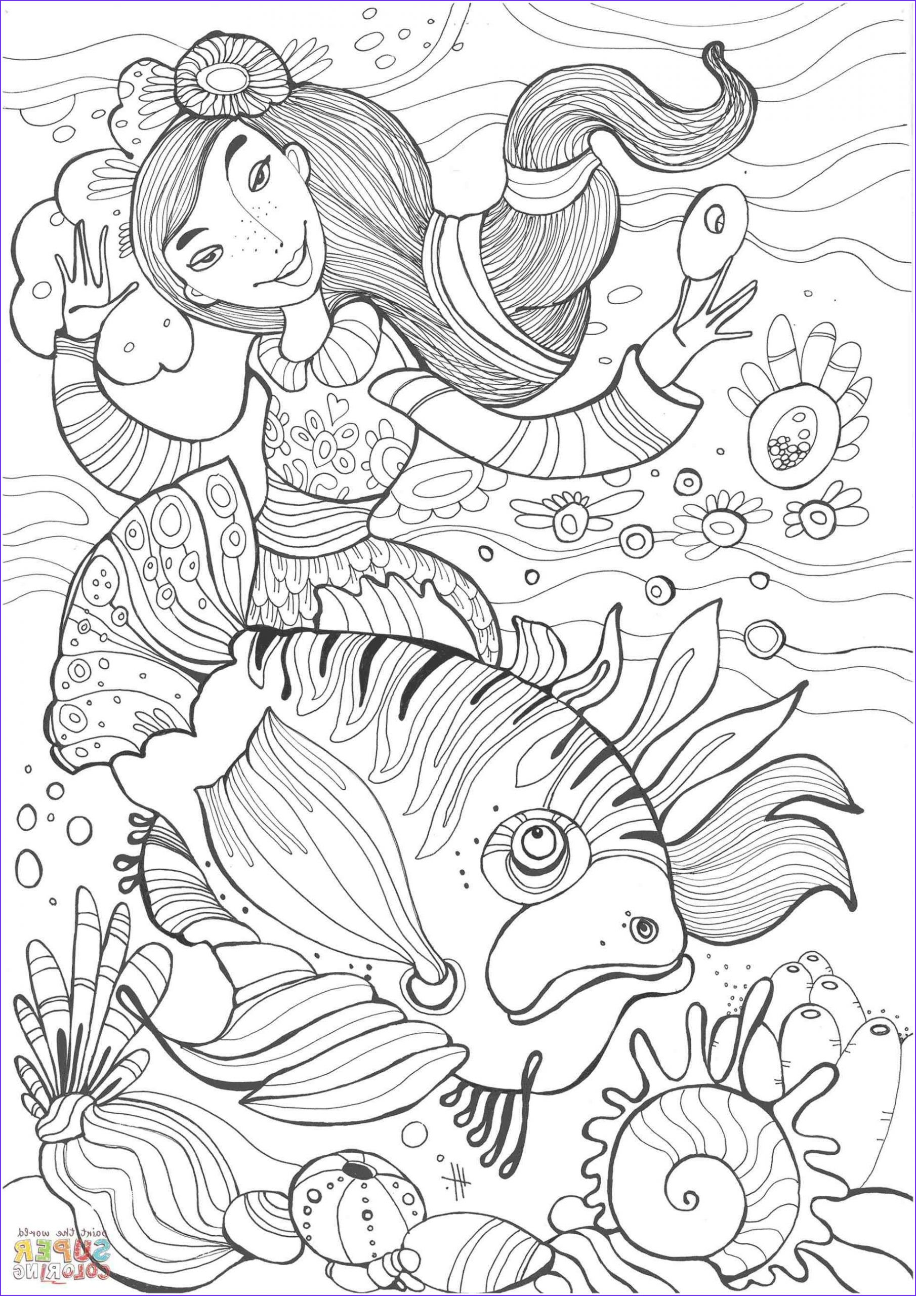 Mythical Mermaids Coloring Book Beautiful Photos Advanced Mermaid Coloring Pages at Getdrawings