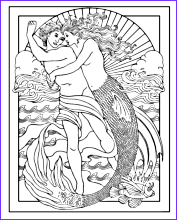 Mythical Mermaids Coloring Book Cool Photos Mythical Mermaids Coloring Book Sample Page Dover