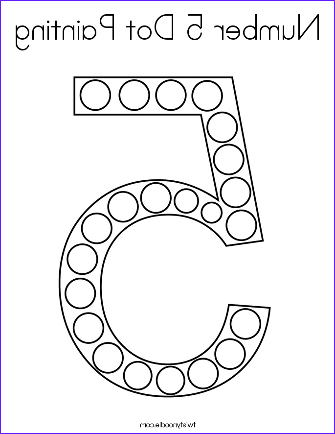 Number 5 Coloring Sheet Awesome Images Number 5 Dot Painting Coloring Page Twisty Noodle