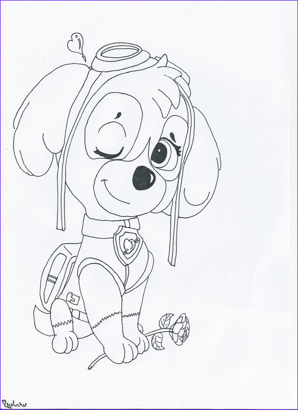 sky from paw patrol coloring page sketch templates