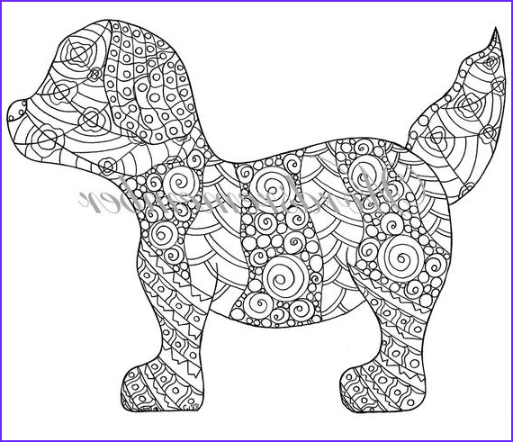 Puppy Coloring Page Luxury Photos Puppy Coloring Page Adult Coloring Instant by Wordsremember