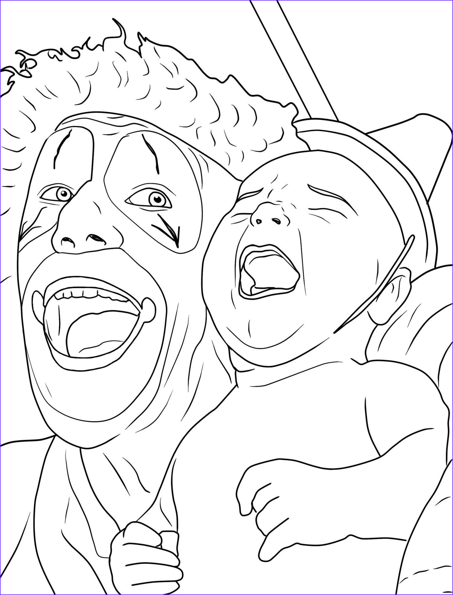 creepy clown coloring pages