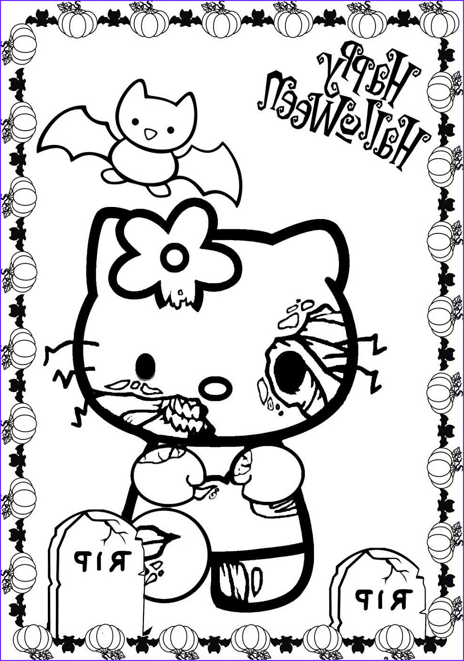 Simple Halloween Coloring Page Cool Photos Hello Kitty Halloween Coloring Pages Easy