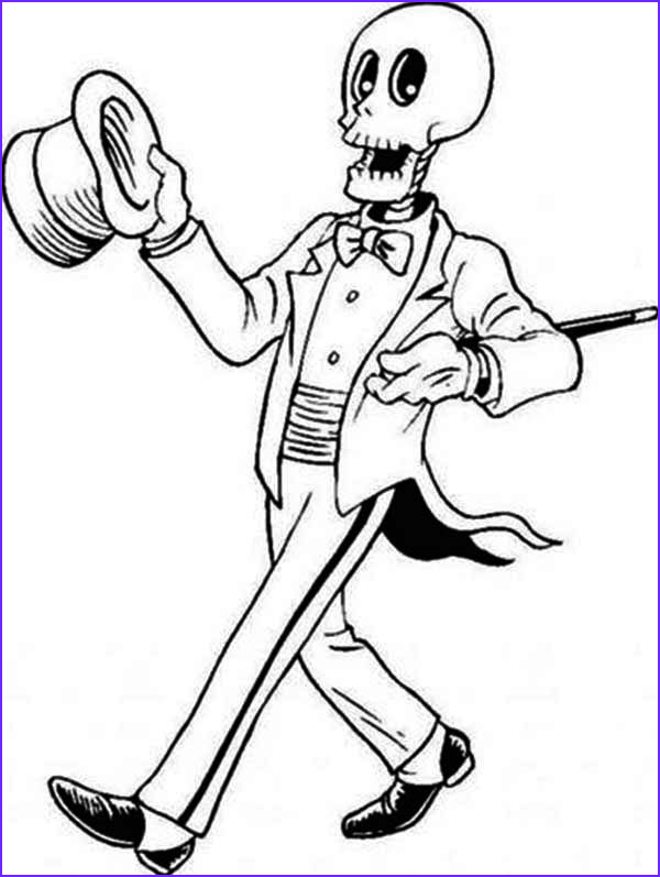 Skeleton Coloring Page Unique Collection Magician Skeleton On the Show Coloring Page Netart