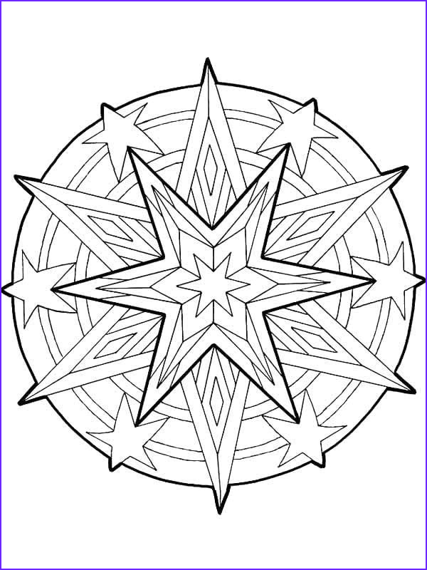 mandala christmas stars outline coloring pages 2