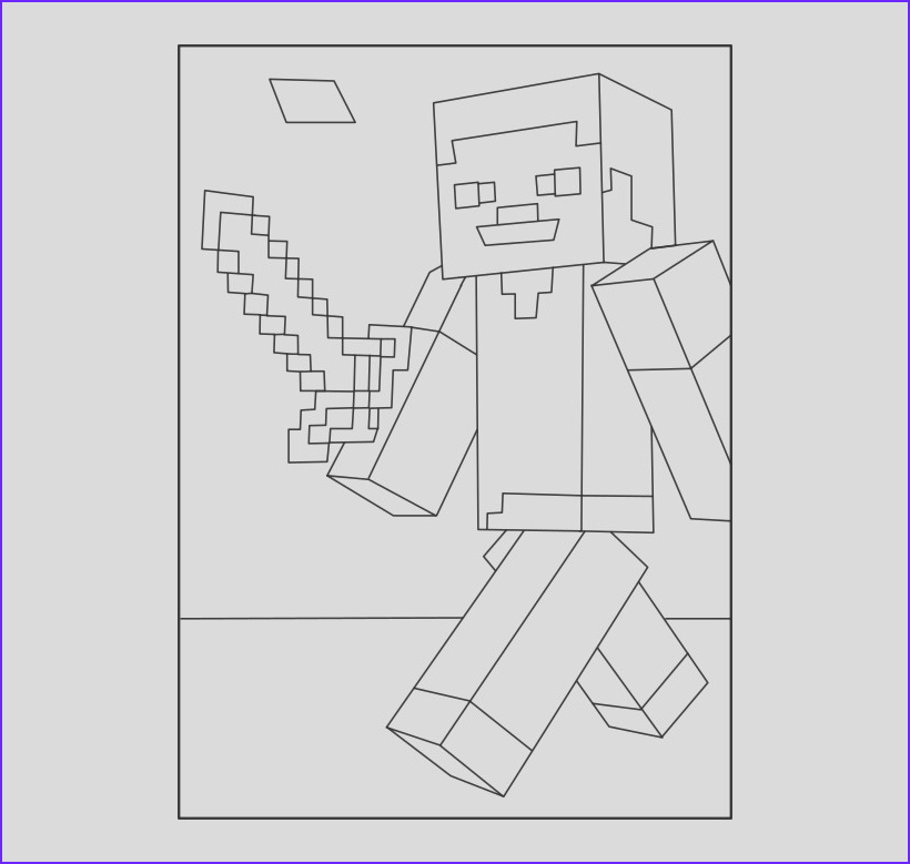 20 best of gallery of steve minecraft coloring page
