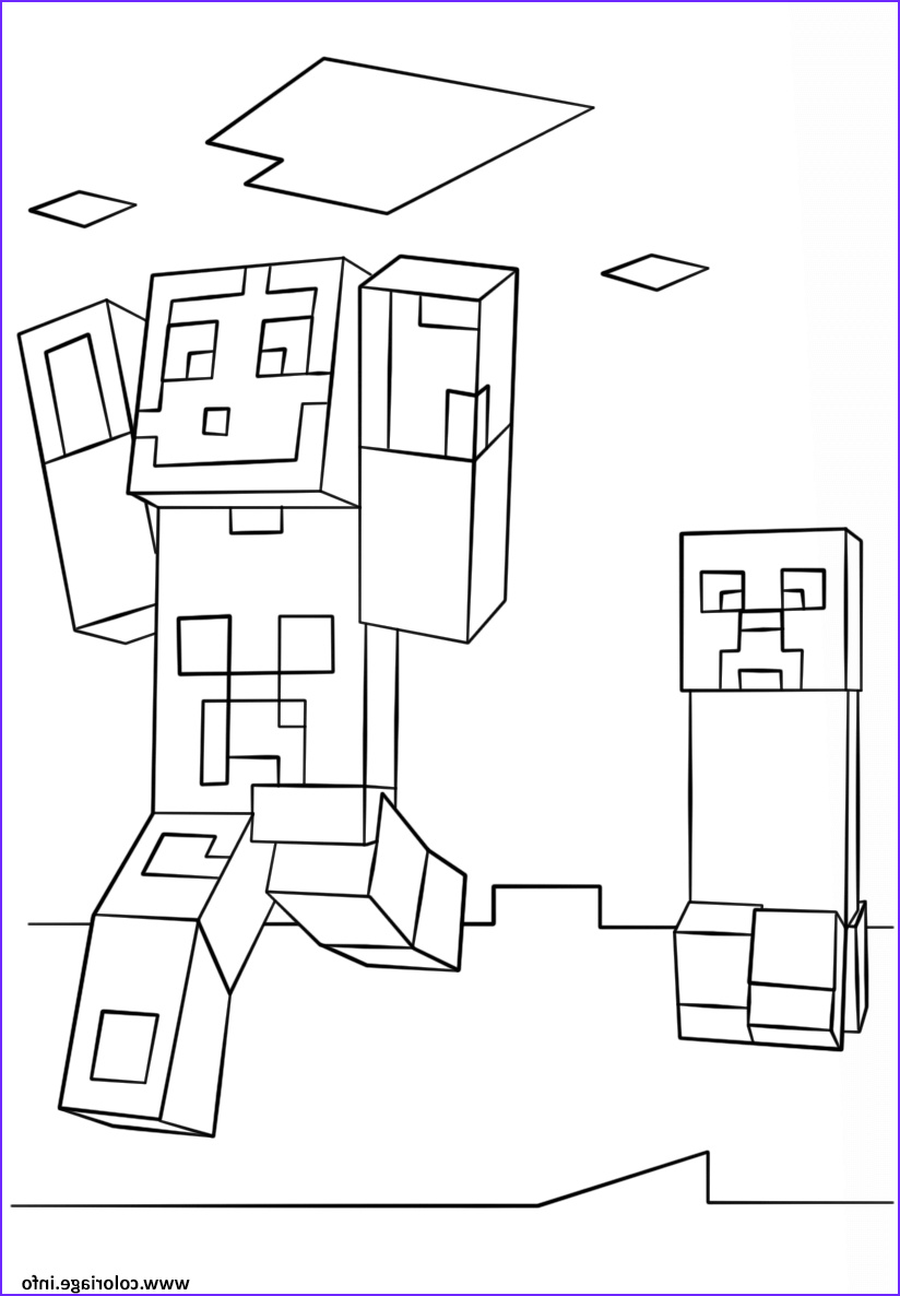 minecraft steve and creeper coloriage