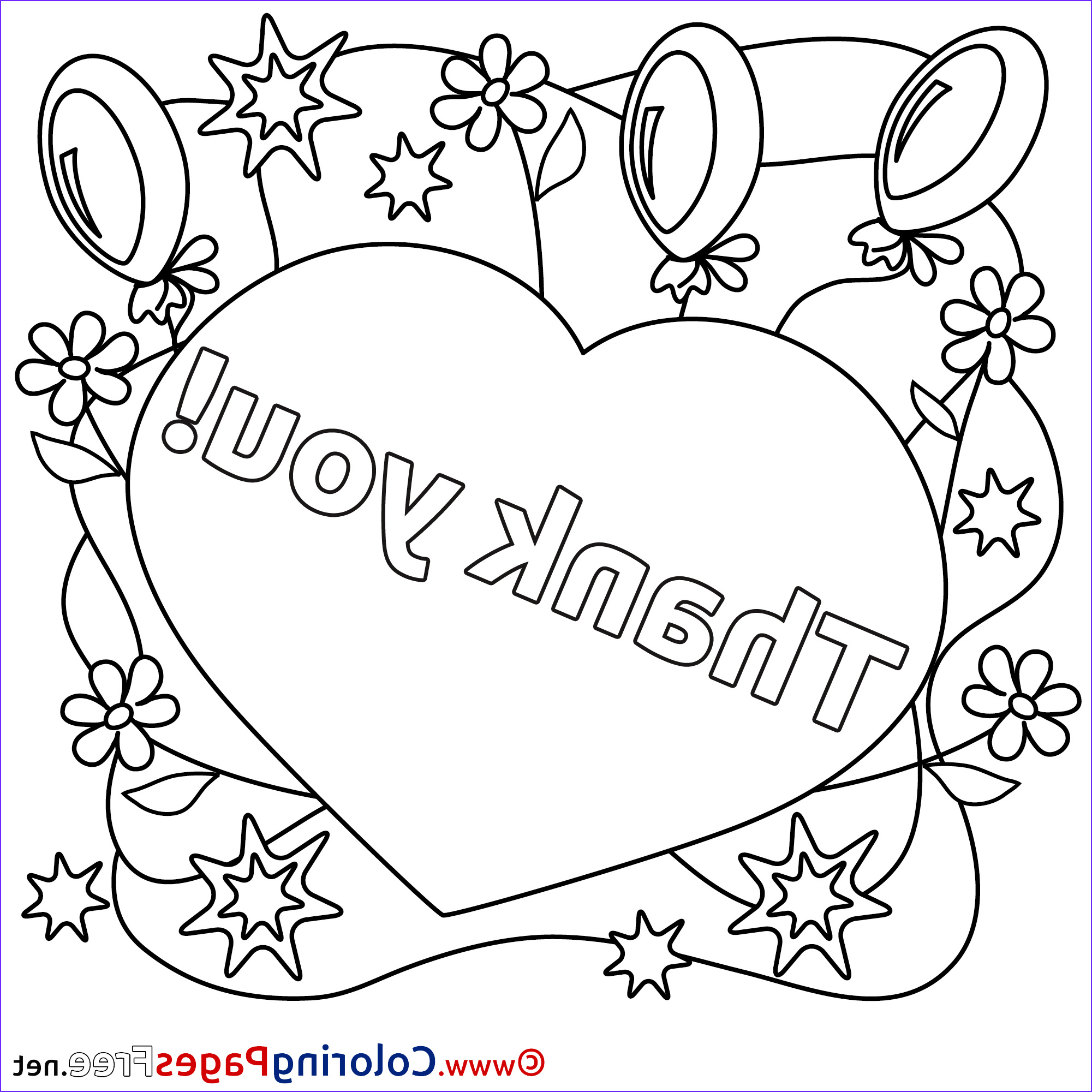 heart balloons for kids thank you colouring page 6011