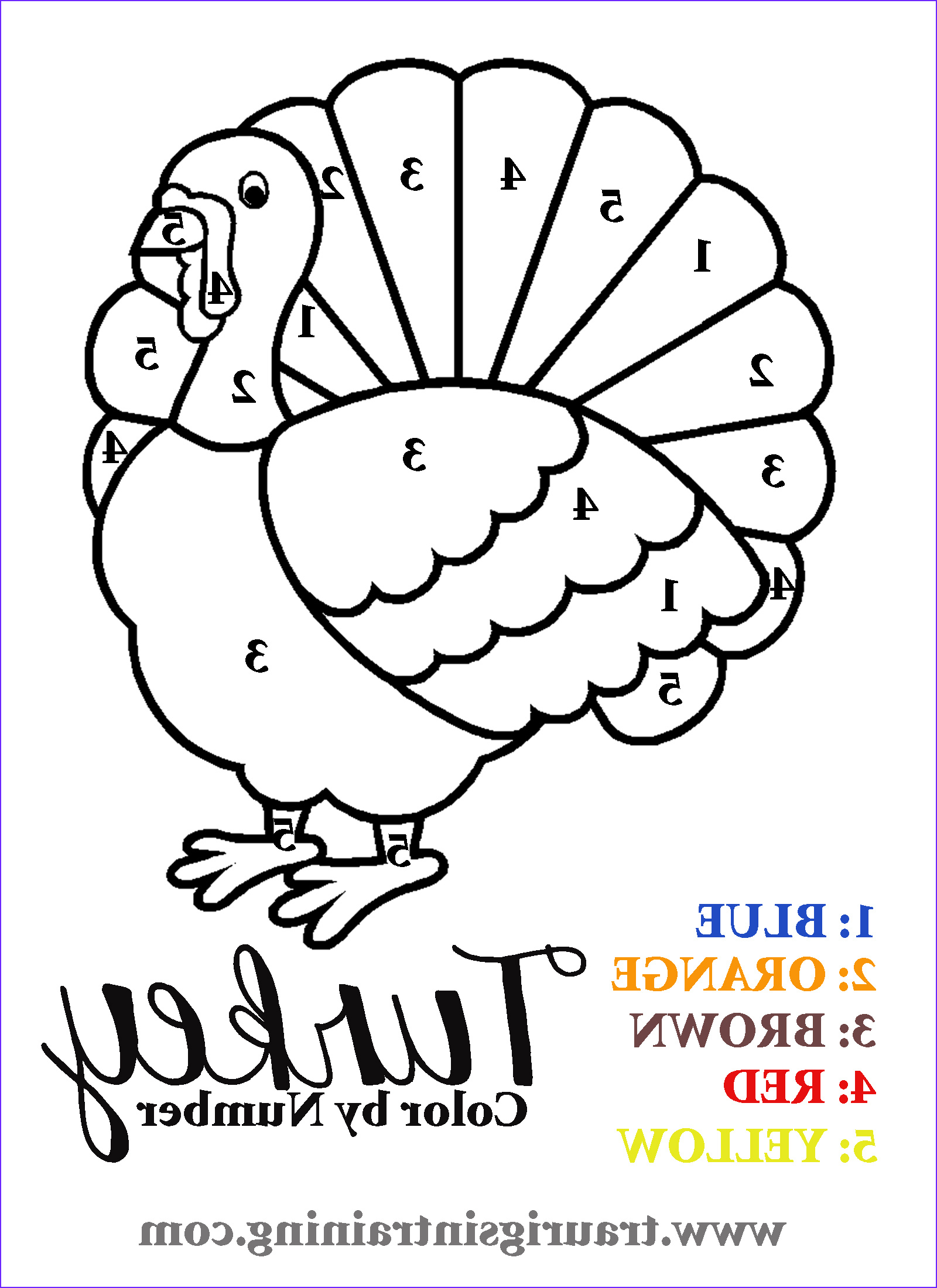 Thanksgiving Coloring Page to Print Inspirational Collection 6 Best Of Free Printable Color by Number Turkey