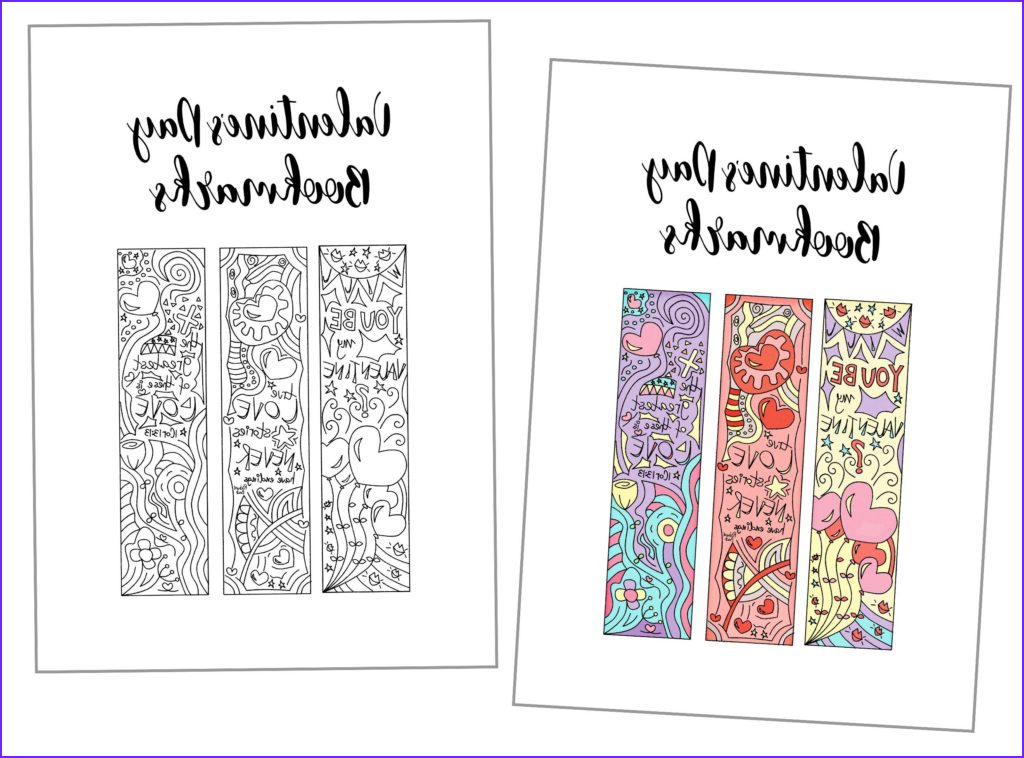 coloring valentines day bookmarks free printable