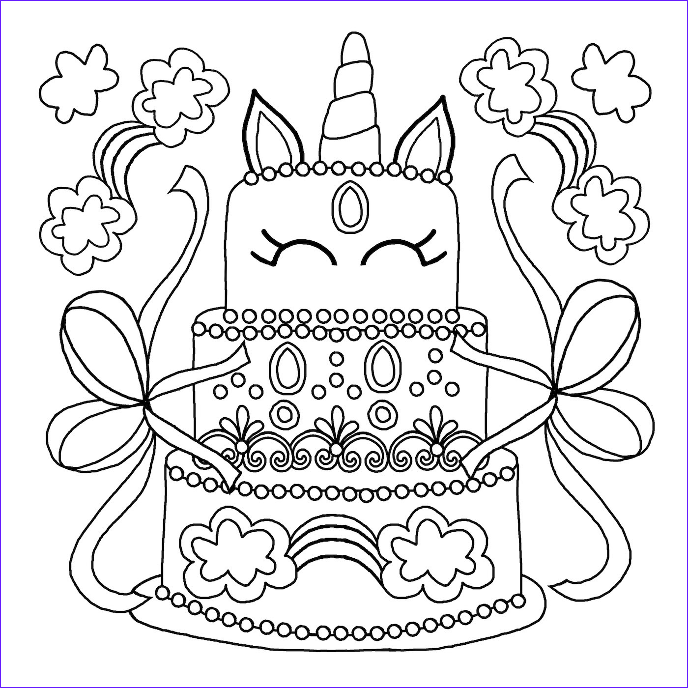 Unicorn Cake Coloring Page Unique Gallery Printable Unicorn Coloring Pages Ideas for Kids