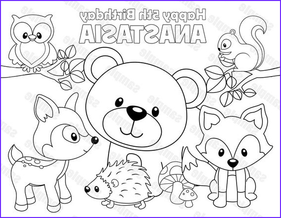 Woodland Animals Coloring Page Awesome Image Personalized Printable Woodland forest Animals Deer Fox