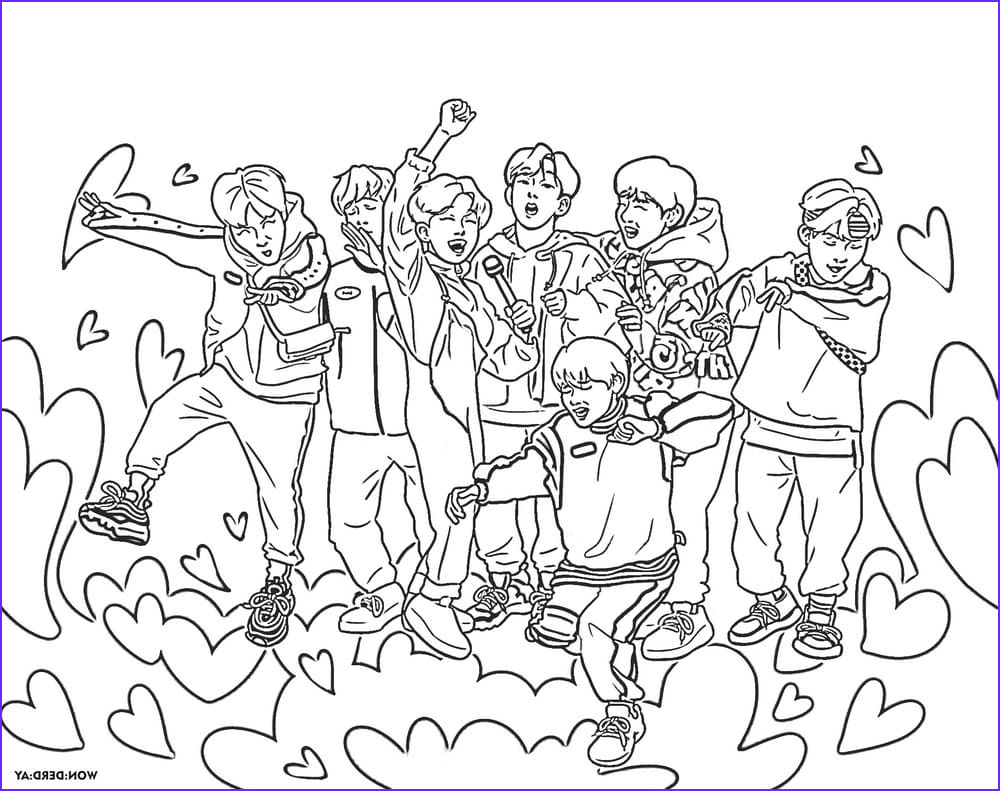 Bts Coloring Page Inspirational Images Bts Coloring Pages Print Members Of A Popular Korean Group