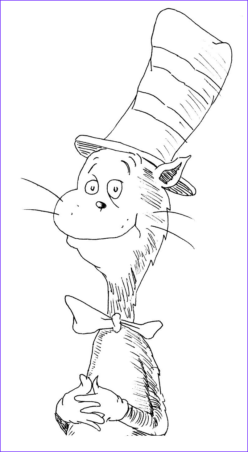 Cat In the Hat Coloring Page Free Beautiful Stock Cat In the Hat Coloring Pages to Print 01