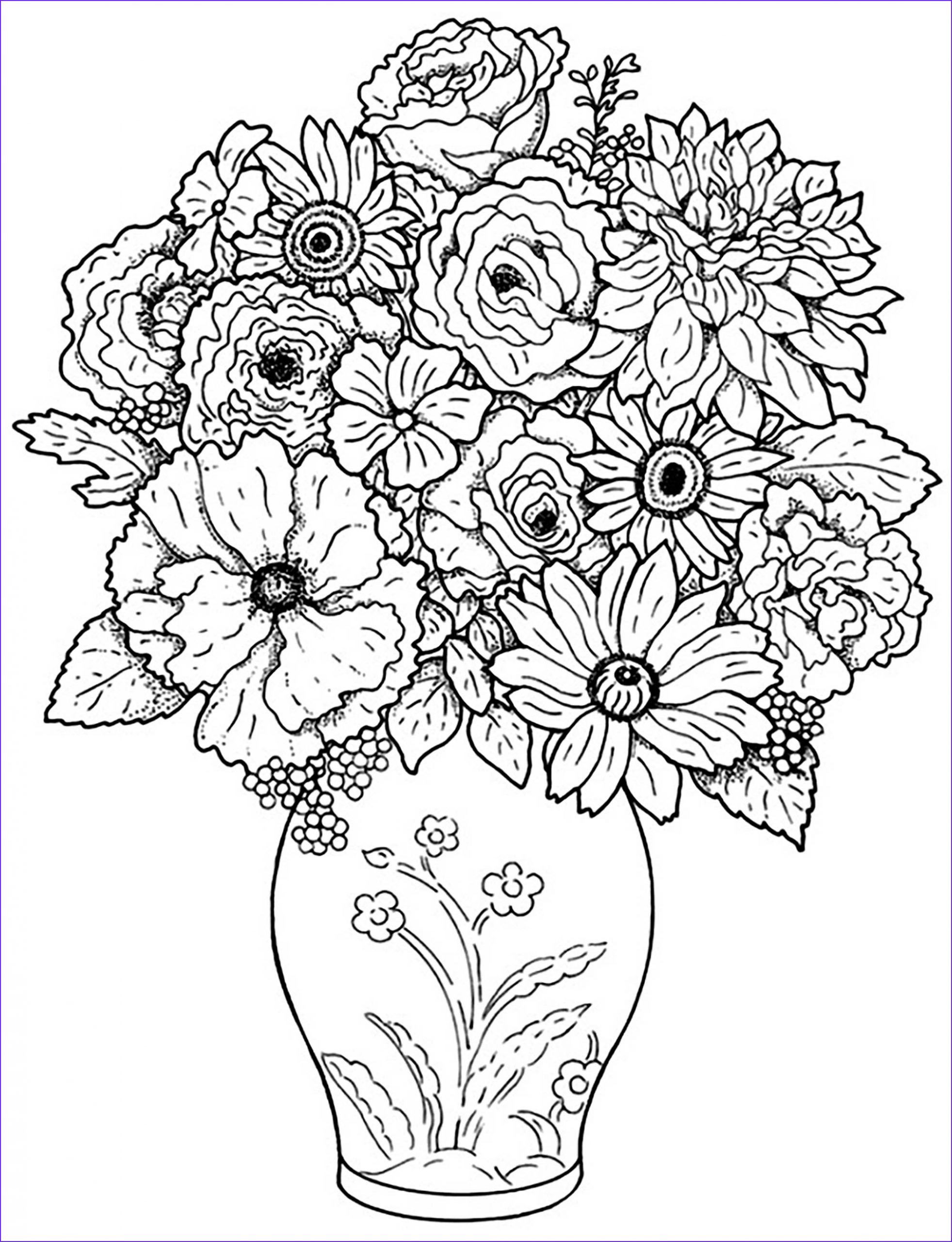 Flowers Coloring Page for Kids Awesome Collection Flowers to Color for Kids Flowers Kids Coloring Pages