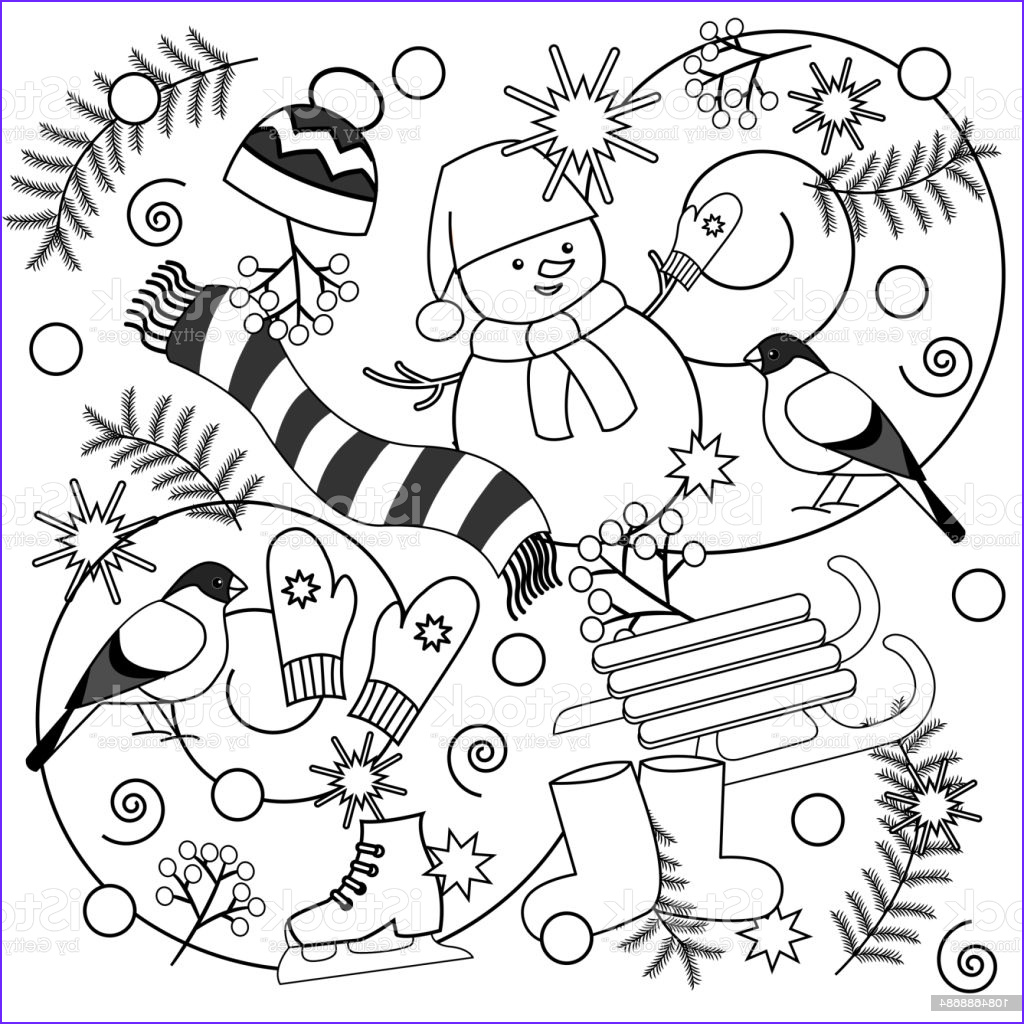Free Winter Coloring Page Inspirational Collection Winter Coloring Pages For Kids And Adults Stock