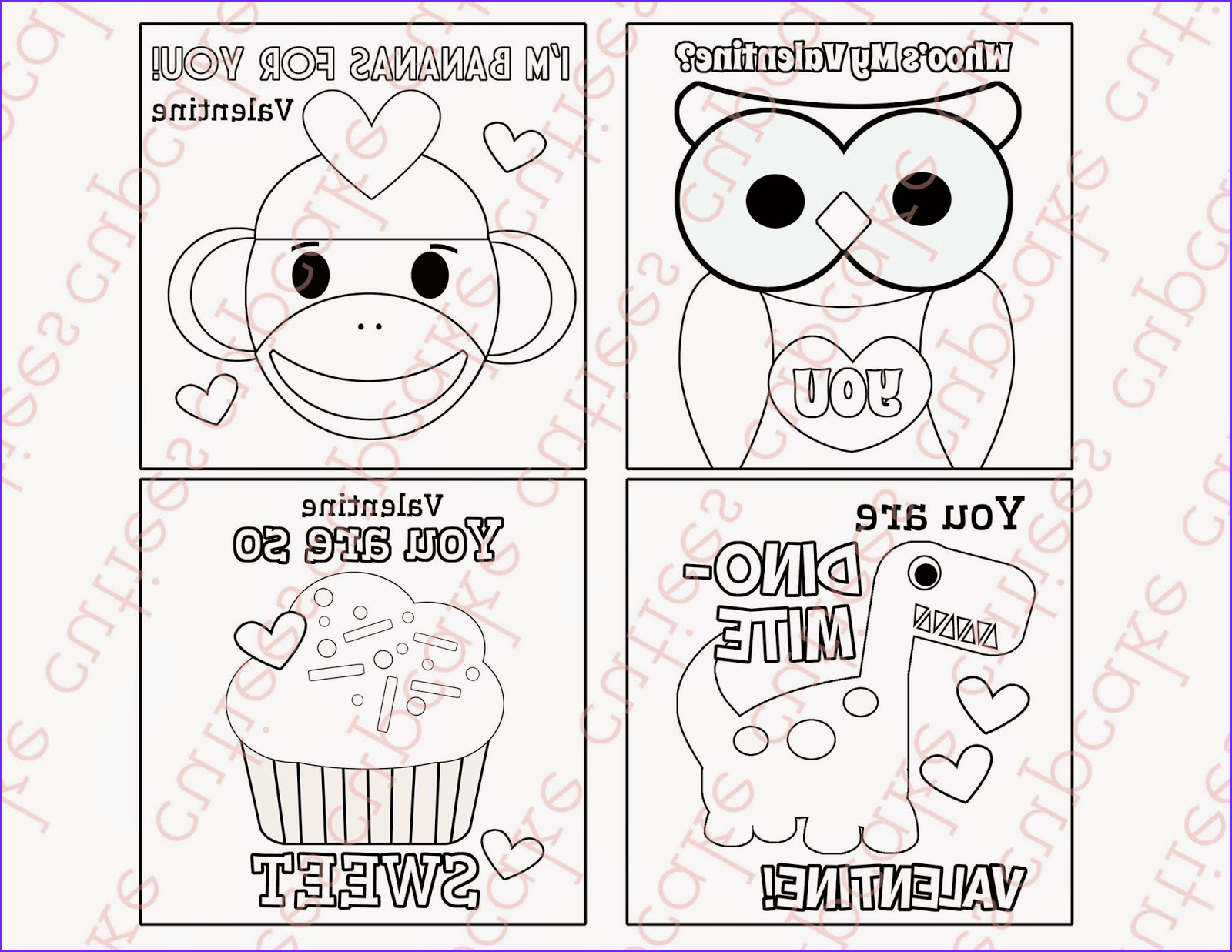 Valentines Day Coloring Cards New Photos Cupcake Cutiees Valentine Coloring Card Digital