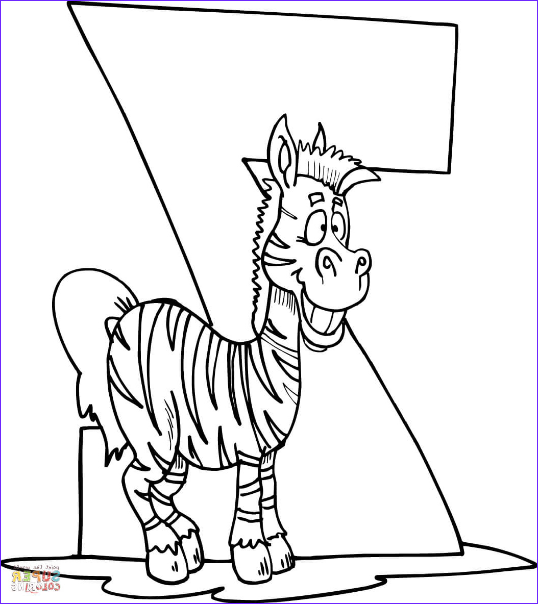 Letter Z is for Zebra coloring page