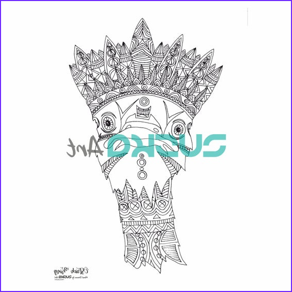 ostrich king adult coloring page adult
