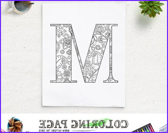 floral alphabet printable coloring page