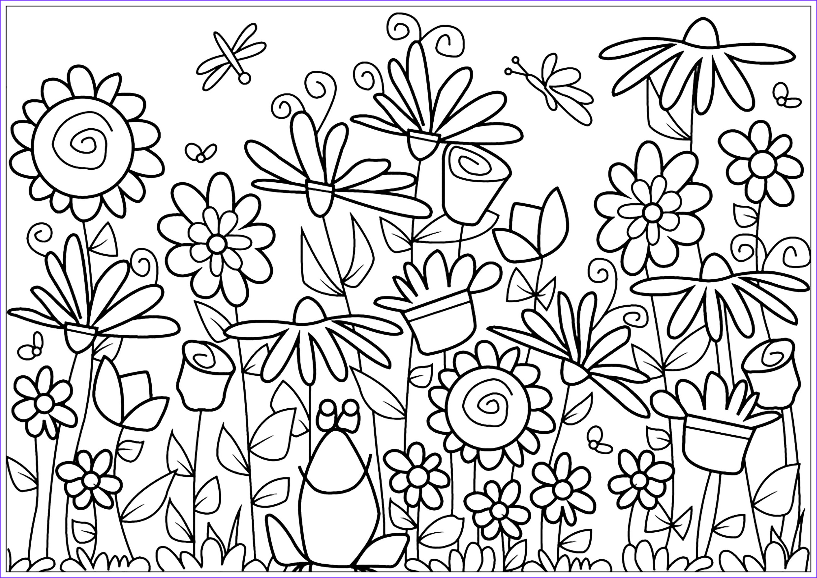 image=fleurs et ve ation coloring page flowers and frog 1