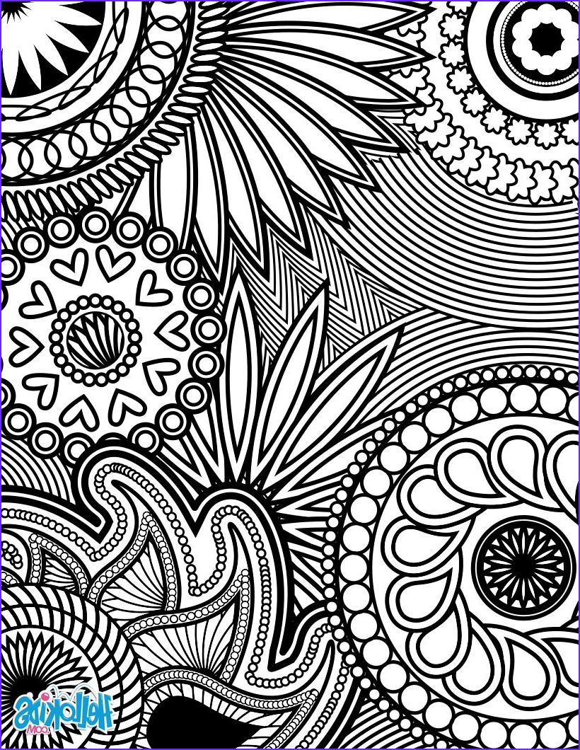 paisley hearts and flowers anti stress coloring design