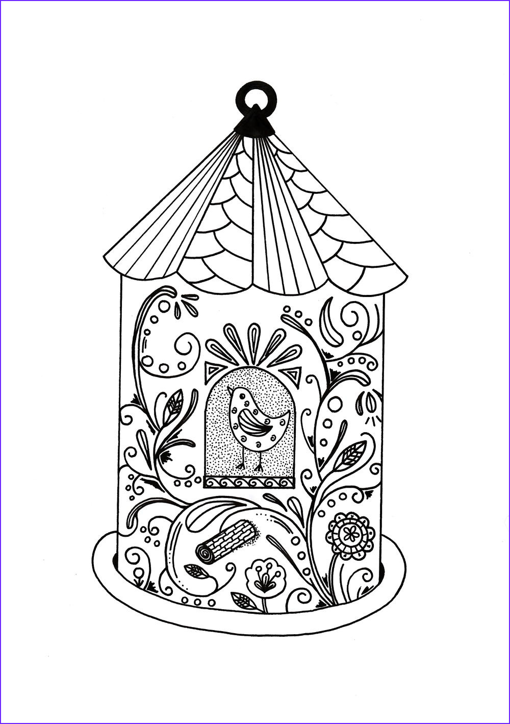Coloring Art Awesome Photos Whimsical Bird House Adult Coloring Page